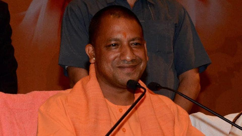 Uttar Pradesh chief minister Yogi Adityanath addressing a press conference in Lucknow on March 19.