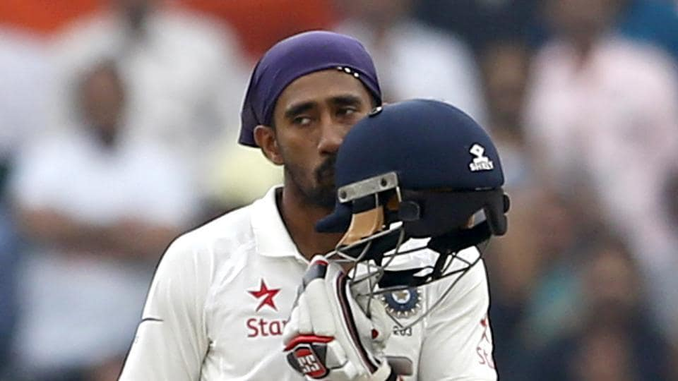 Wriddhiman Saha slammed his third Test ton and shared a record 199-run stand for the seventh wicket with Cheteshwar Pujara, who scored his third double ton.