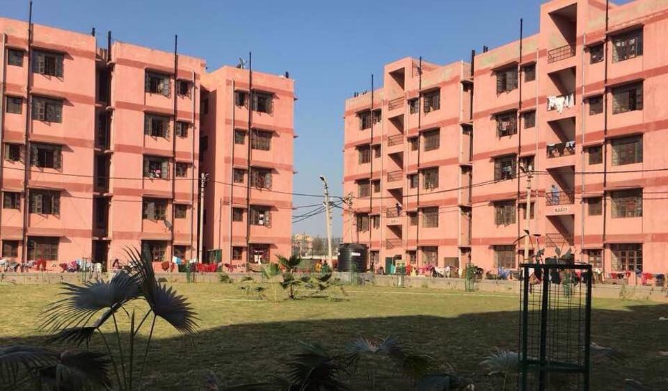 The flats in Dwarka where slum dwellers have been shifted.