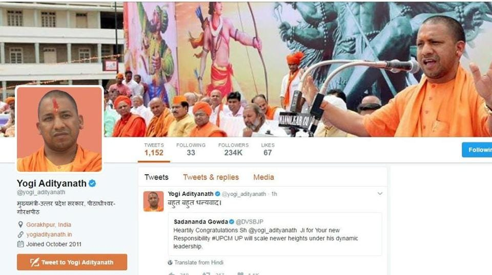 Yogi Adityanath,Twitter,followers