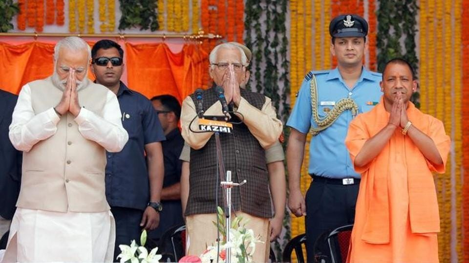 PM Narendra Modi, UP governor Ram Naik and chief minister Yogi Adityanath after his swearing-in ceremony in Lucknow.