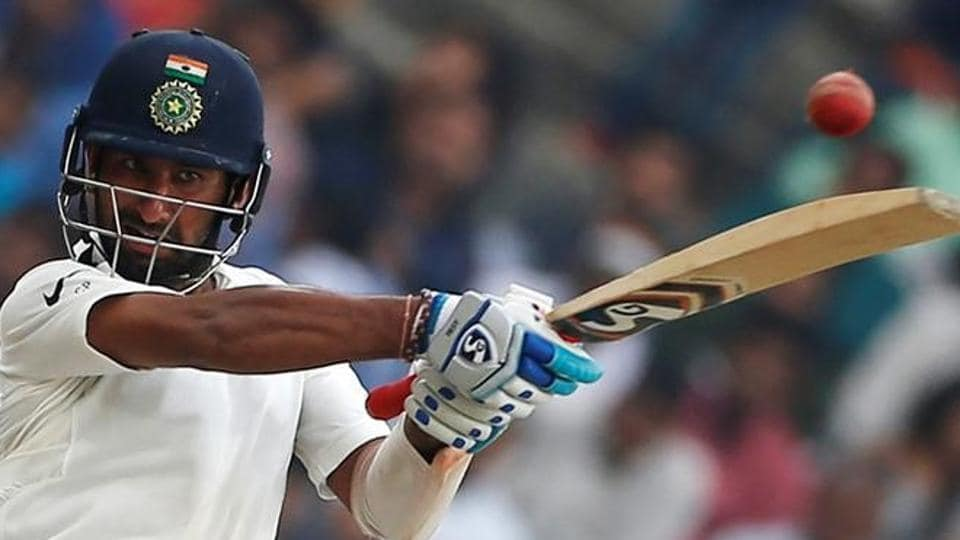 Cheteshwar Pujara hits one of his 21 boundaries during his 11-hour double century knock for India cricket team against Australia cricket team in third Test in Ranchi. India skipper Virat Kohli was all praise for the effort by Pujara and Wriddhiman Saha, which helped the hosts wrest advantage in the first innings.