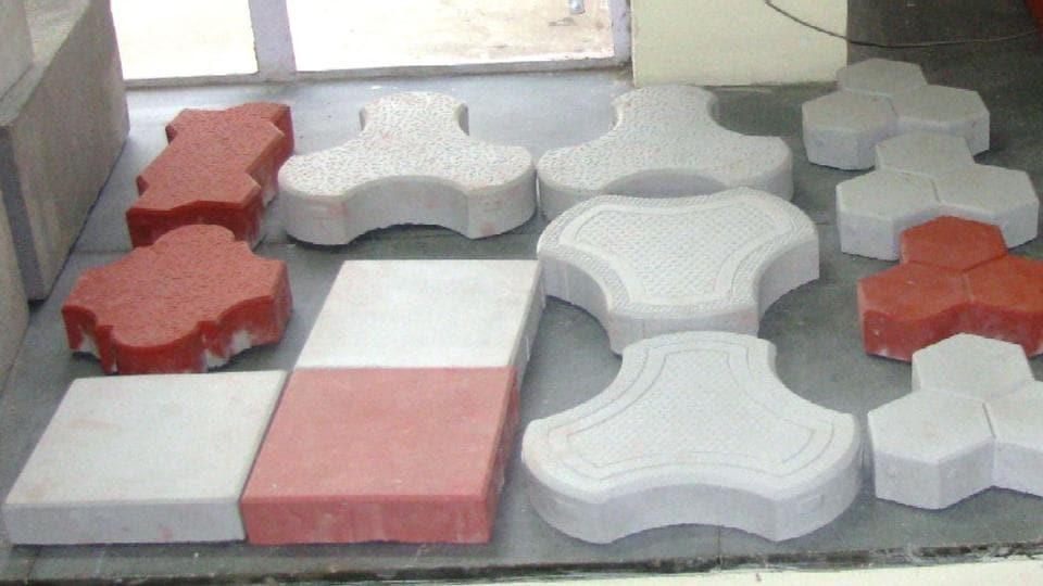 Prototypes of tiles developed from the Kota stone slurry.
