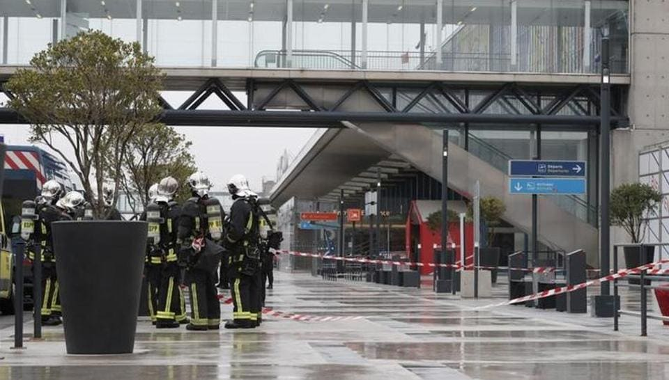 Emergency services at Orly airport southern terminal after a shooting incident near Paris, France.