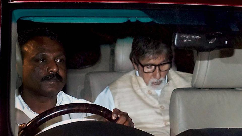 Amitabh Bachchan during the funeral of Aishwarya Rai Bachchan's father.
