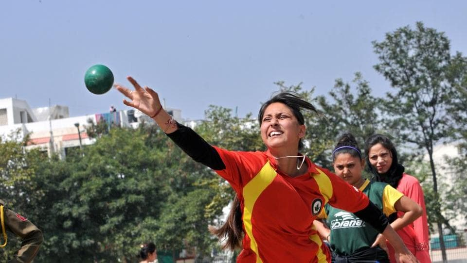 A candidate throwing shot put iron ball during a recruitment rally of Jammu and Kashmir Police (JKP)  , in Jammu, on Monday. JKP has initiated the process for recruitment of constables for five IRP battalions sanctioned by the government.  (Nitin Kanotra / Hindustan Times)