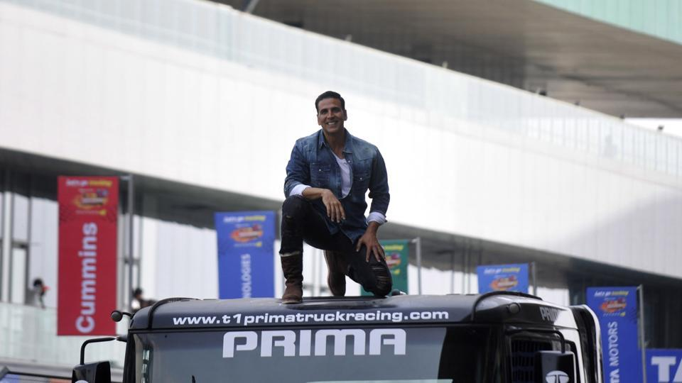 Akshay Kumar at the final day of T1 Prima Truck Racing in Greater Noida's Budh International Circuit on Sunday.