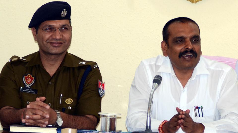 Police commissioner Kunwar Vijay Partap Singh (right) in Ludhiana on Sunday.