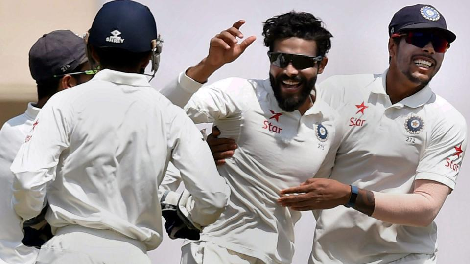 Ravindra Jadeja celebrates after dismissing Shaun Marsh in India vs Australia third Test in Ranchi. The match ended in a draw. Catch highlights of India vs Australia here.