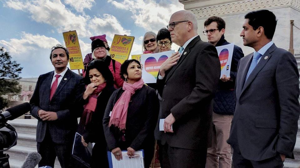 Indian American lawmakers Ami Ber, Pramila Jayapal and Ro Khanna along with top Democratic leader Congressman Joe Crowley attend a vigil at the US Capitol to honour victims of hate crime, including Indian Americans, in Washington on Friday.
