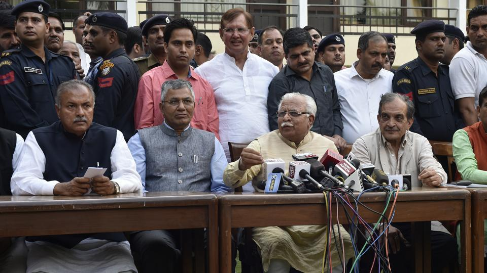 President of the All India Jat Aarakshan Sangarsh Samiti (AIJASS) Yashpal Malik (left) with Haryana CM Manohar Lal Khattar addressing the media ,Sunday, March 19.  Although there is a lull in the agitation in Delhi for now, the Jat community has again raised the clamour to be included in the Other Backward Classes  list.