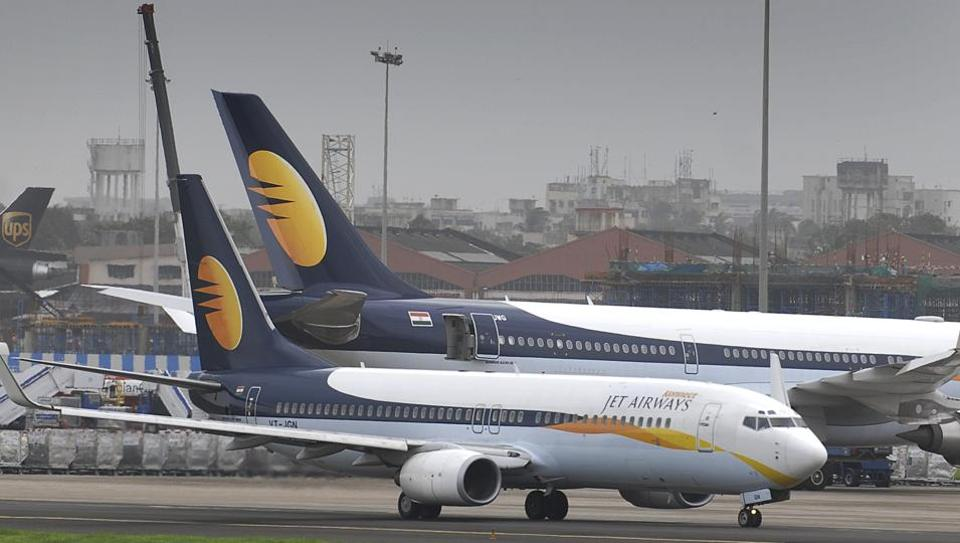 Jet airways Aircraft taxis for take off at Mumbai International Airport in Mumbai.