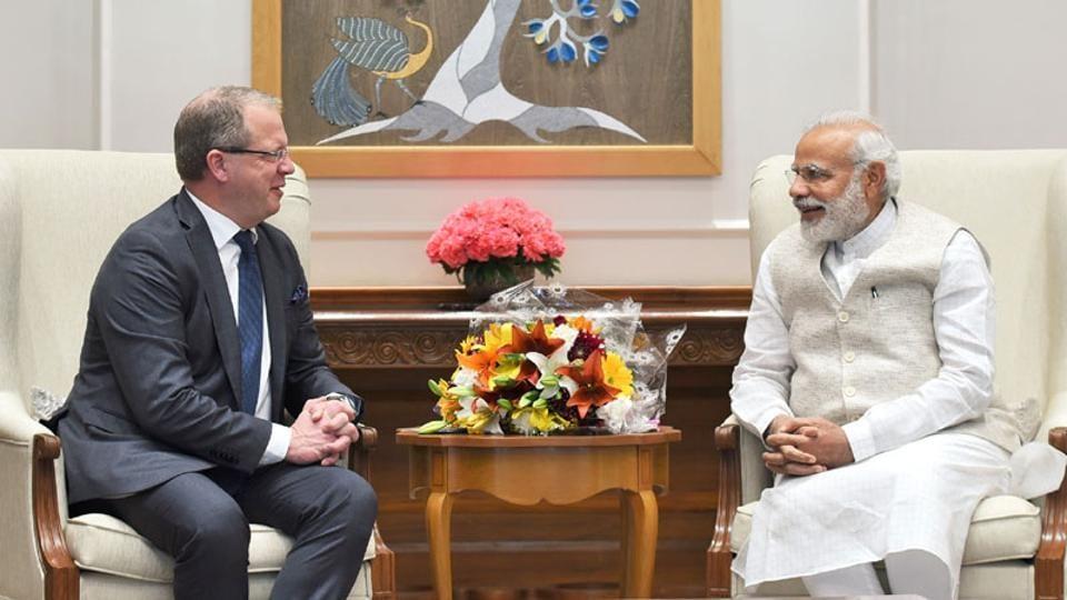 AB Volvo CEO Martin Lundstedt calls on the Prime Minister Narendra Modi in New Delhi
