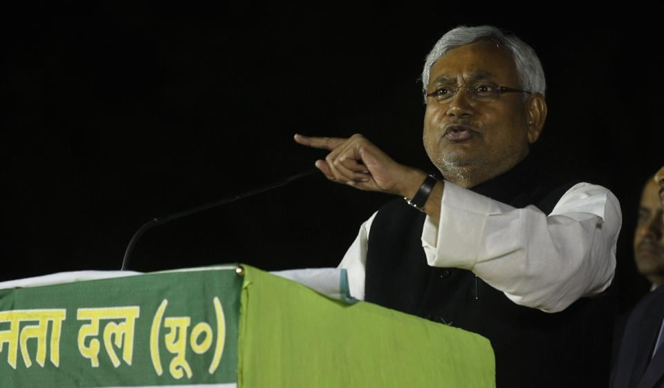 Bihar Chief Minister Nitish Kumar addresses a rally in support of the party candidate from Dwarka assembly constituency in 2013 assembly elections in Delhi.
