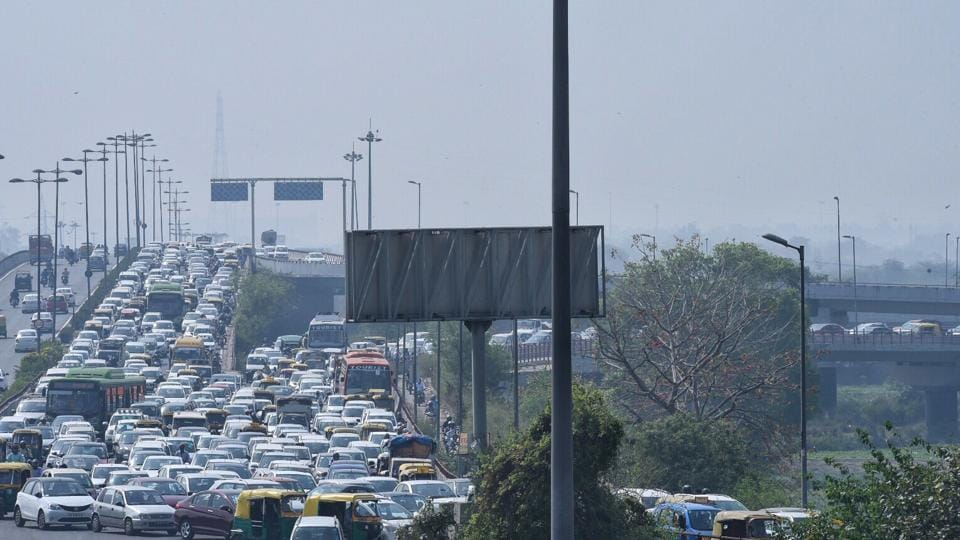 Vehicles are being checked frequently than usual  due to which traffic running  slow. (Arun Sharma / HT photo)