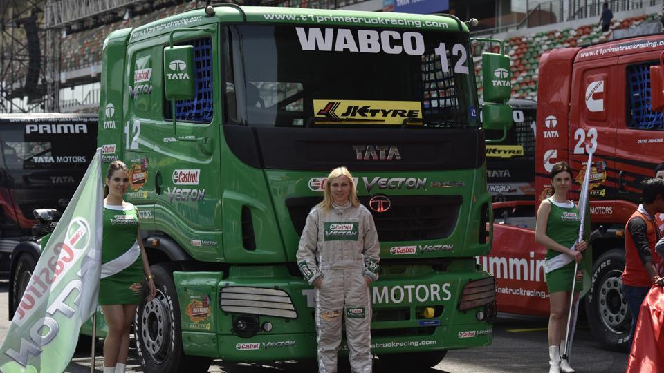 Truck driver Stephanie Halm from Germany at the T1 Prima Truck Racing Championship at Buddh International Circuit in Greater Noida. Wabco provided braking solutions for the Prima trucks at the race.