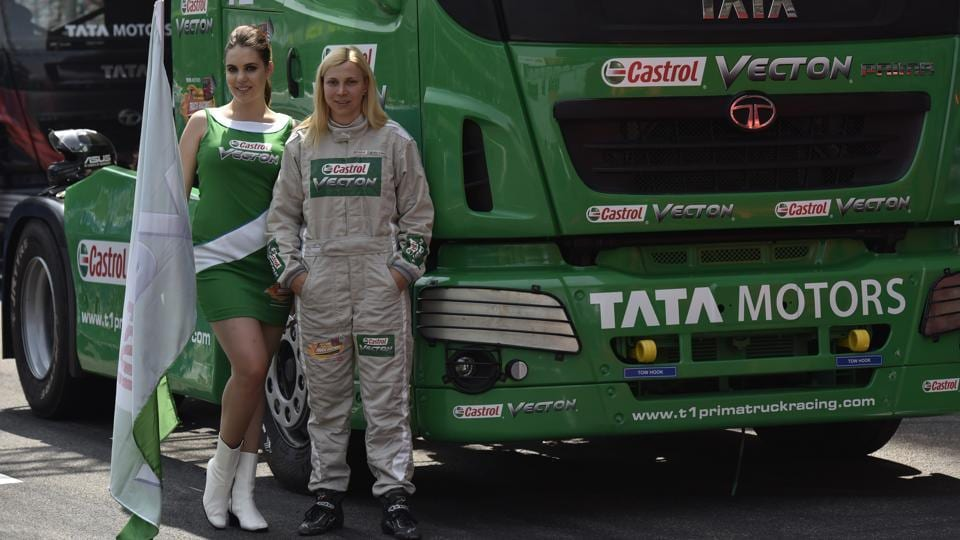 This year there is one  female truck driver, Stephanie Halm from Germany.She  has been in into motorsports since 1993 and is the first female to claim victory in the European truck racing Championship in 2015.  (Virendra Singh Gosain/HT PHOTO)