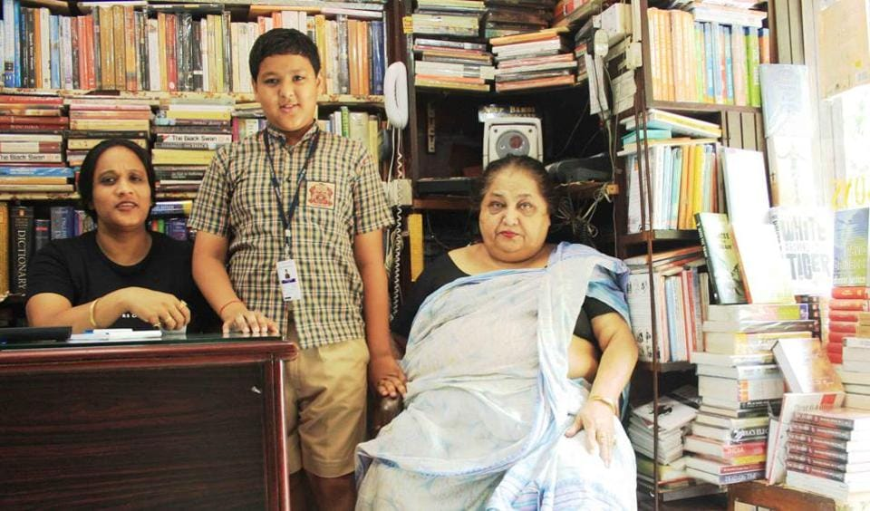 Abhinav Bamhi with his mother, Mamta Marwah (L), and grandmother Uma Marwah in 2010 at Faqir Chand & Sons bookstore in south Delhi's Khan Market.