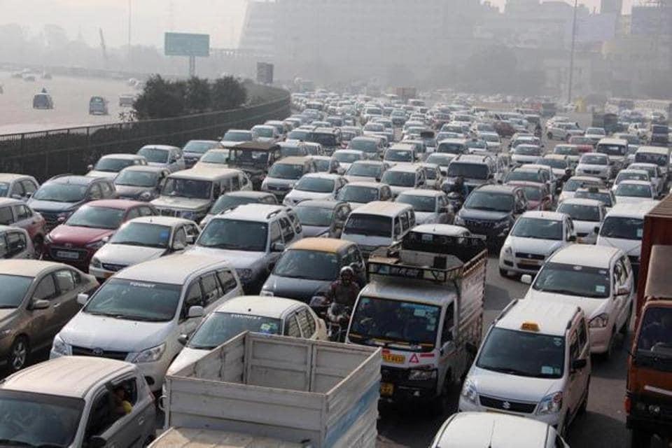 A view of traffic jam at expressway at Gurgaon- Delhi border