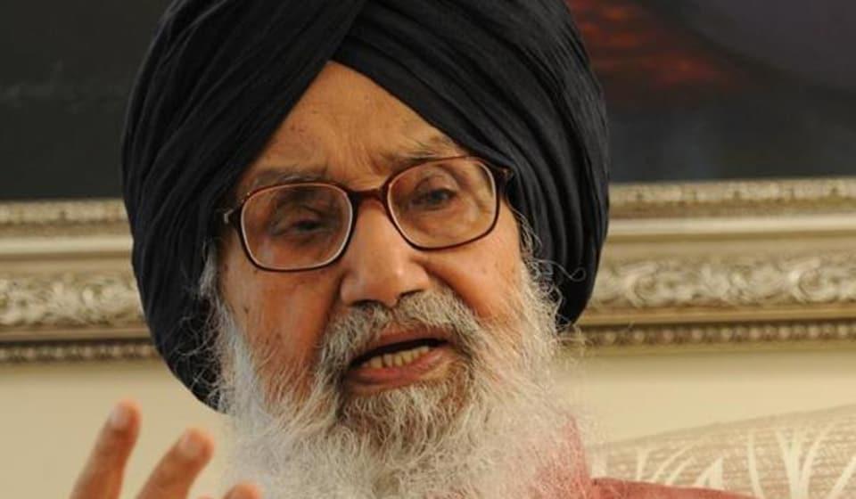 Former Punjab chief minister Parkash Singh Badal