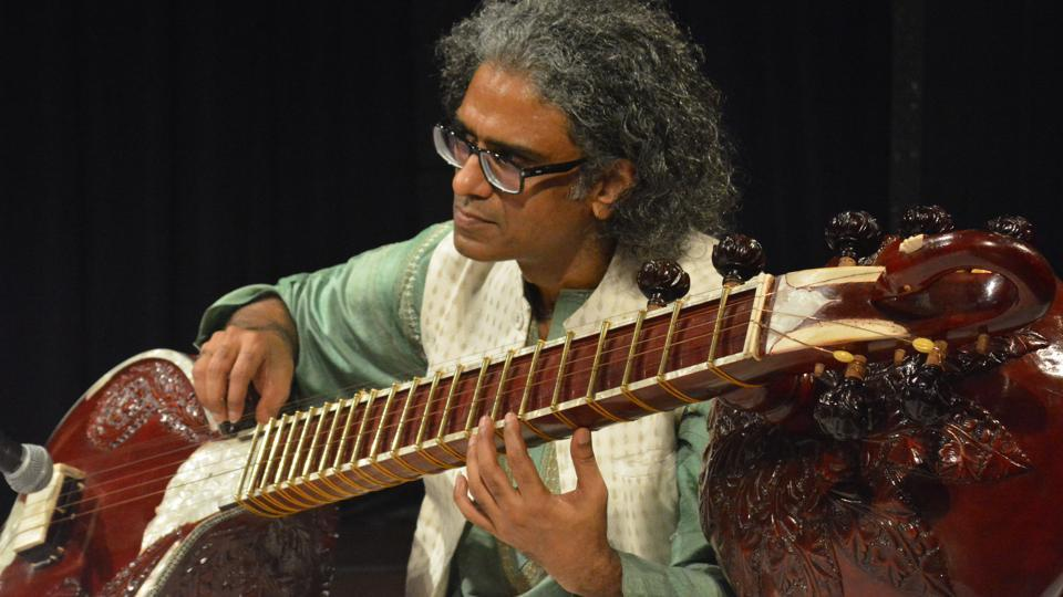 Musician Balachander plays dhrupad with the chandra veena at an event in Mumbai.