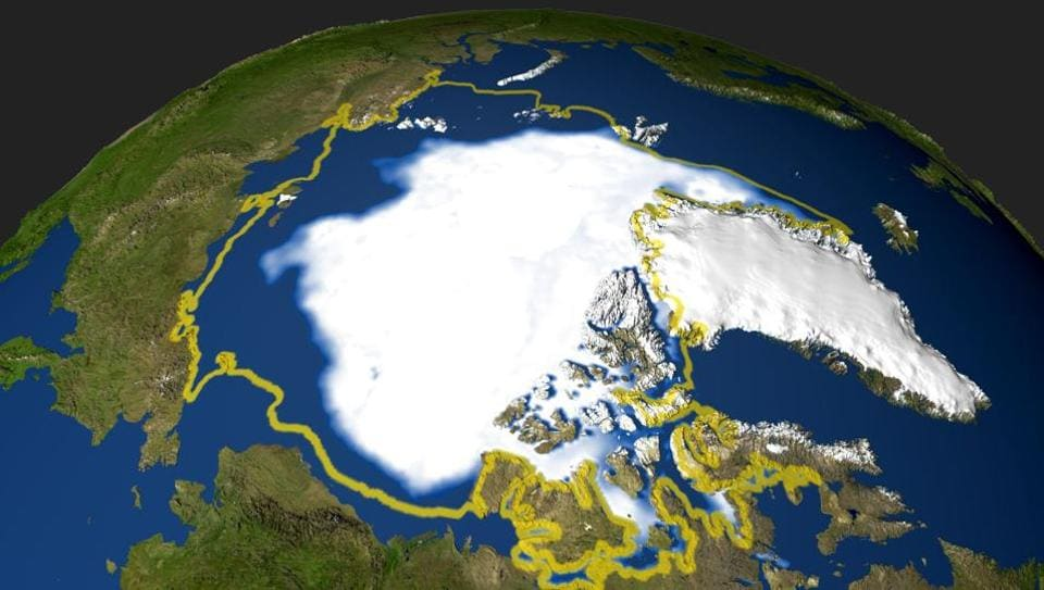 A handout by NASA shows the minimum concentration of Arctic sea ice in 2005 that occurred on September 21, when the sea ice extent dropped to 2,05 million square miles.