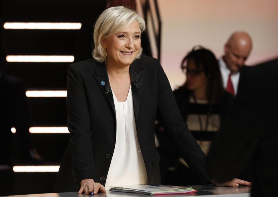 Marine Le Pen prior to a television debate at French TV station TF1 in Aubervilliers, near Paris.