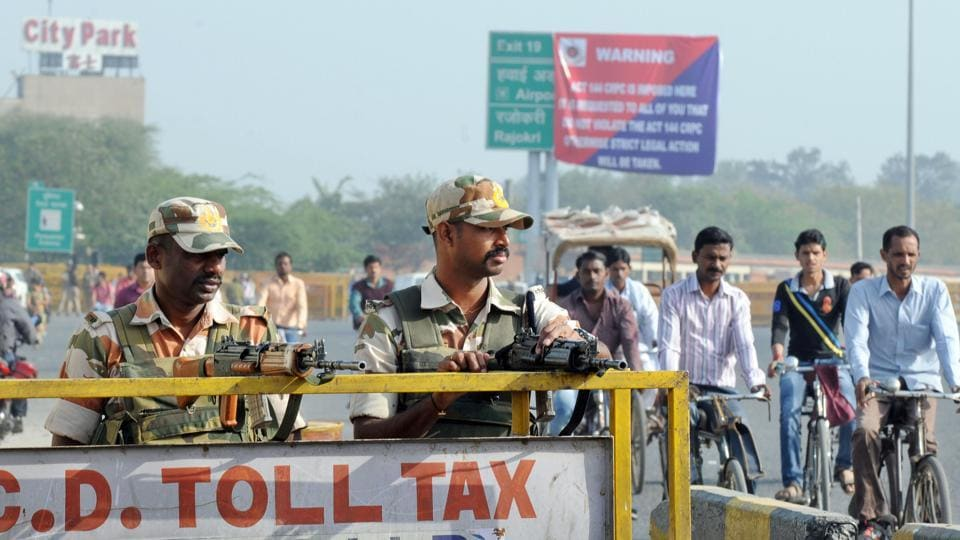 Security personnel were deployed at Delhi-Gurgaon border to prevent any untoward incident after Jat protesters threatened to choke Delhi with over 50,000 tractor-trailers on March 20.