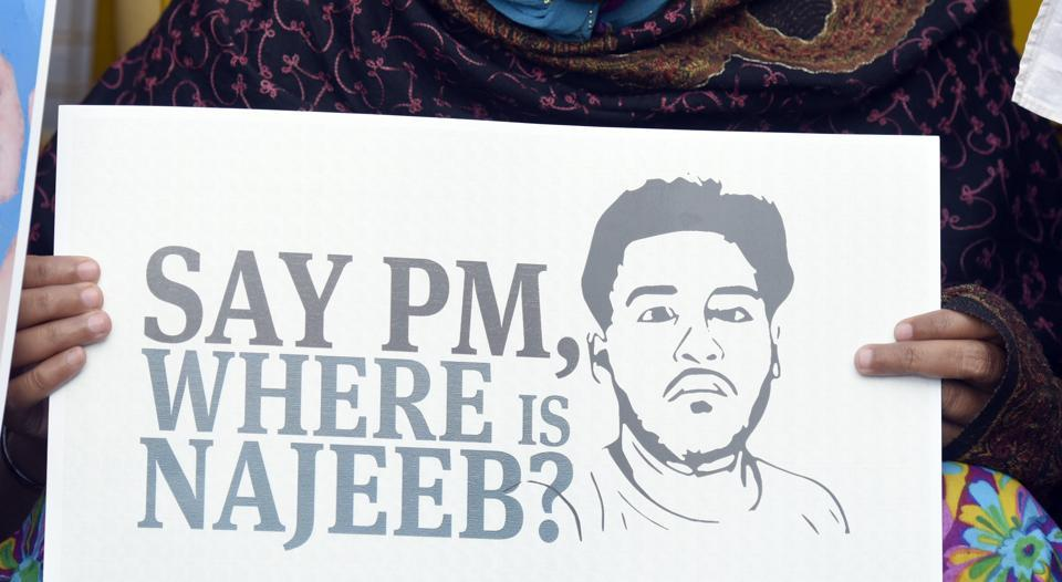 Najeeb Ahmad, a student of JNU, had gone missing last year after an altercation with some ABVP students. The police has been unable to trace him since.