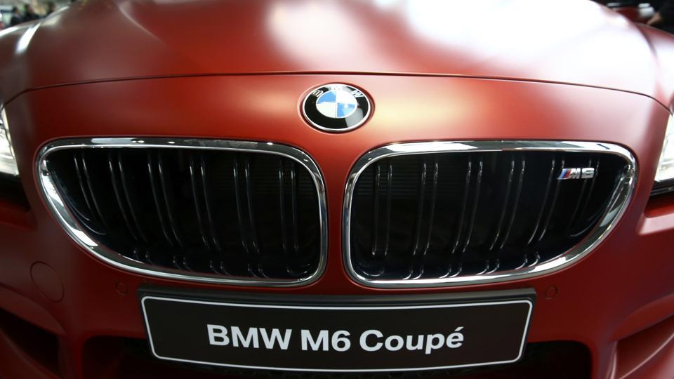 The logo of BMW on a BMW M6 Coupe is pictured before the company's annual news conference in Munich, southern Germany, on Tuesday.