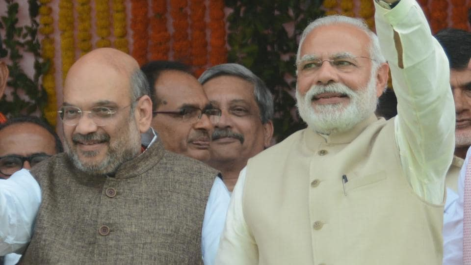 Prime Minister Narendra Modi and BJP president Amit Shah at UP CM Yogi Adityanath's swearing-in ceremony in Lucknow.