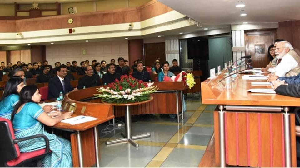 Prime Minister Narendra Modi interacting with the trainees of the Indian Revenue Service in New Delhi