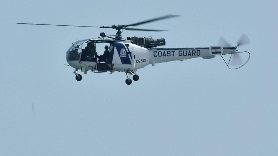 A Coast Guard helicopter made an emergency landing to avoid a bird hit, but its undercarriage was damaged during the landing.