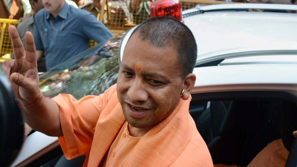 Uttar Pradesh chief minister Adityanath leaves after a meeting in Lucknow on Monday.
