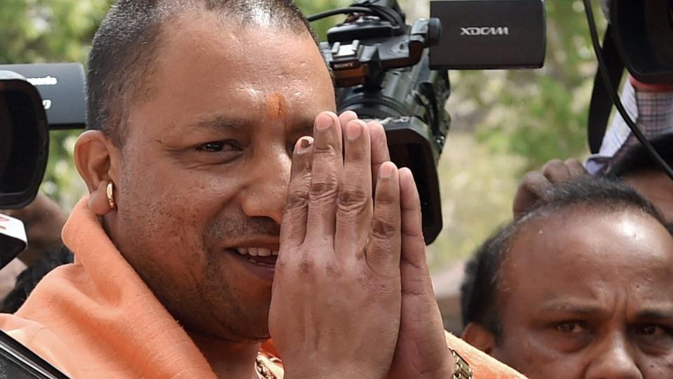 Uttar Pradesh chief minister Yogi Adityanath arrives at Parliament on Tuesday.