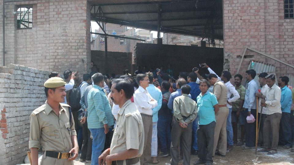 An illegal slaughter house being sealed in Varanasi on Tuesday.