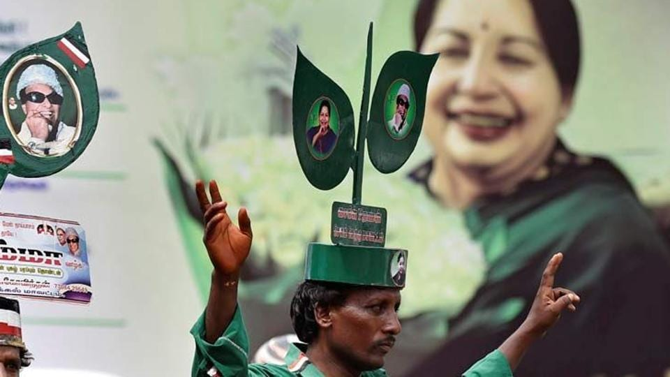 The 'two leaves' symbol has been synonymous with the AIADMK since it was founded by actor-turned-politician MG Ramachandran.
