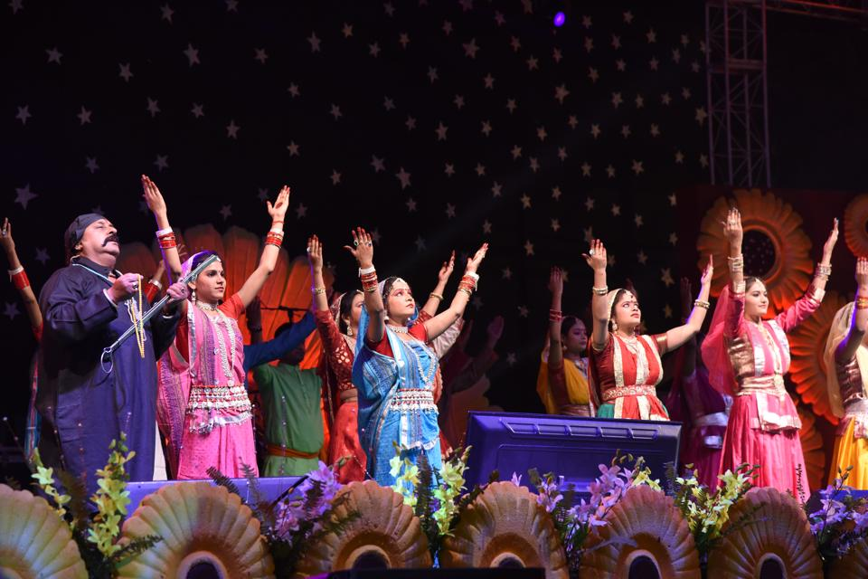 Artistes performing at the 'Bihar Diwas' inaugural function, in Patna on Wednesday.