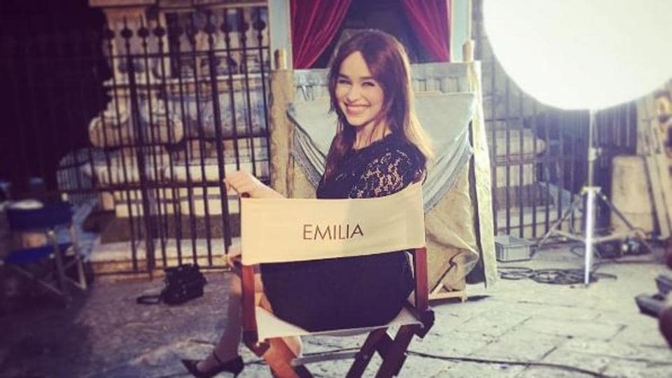 Emilia Clarke on the sets of Dolce & Gabbana's latest ad campaign.