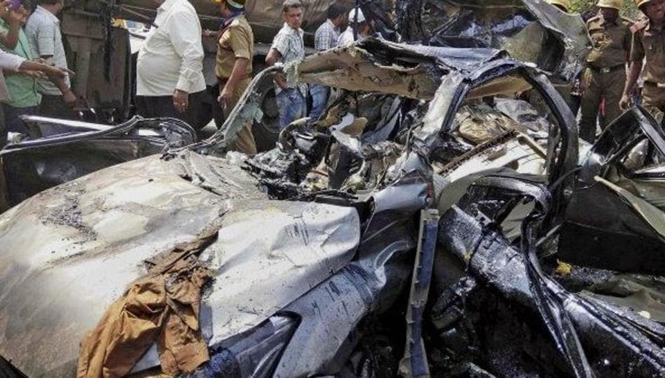 The mangled remains of the ill-fated vehicle in which the RPF officer, his family members were travelling.
