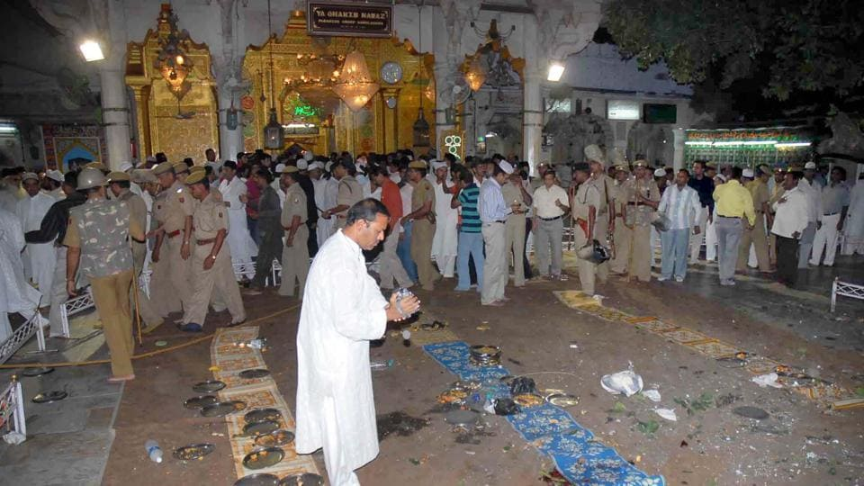 The scene at Ajmer Dargah just after the blast. A special court sentenced two people to life imprisonment in the case on Wednesday.