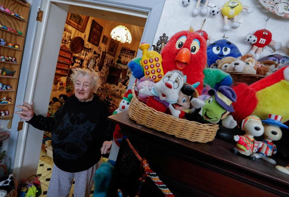 From the living room to the bedroom, every space in Catherine Bloemen's home has been taken over by her collection of stuffed and plastic toys. (Yves Herman / Reuters)