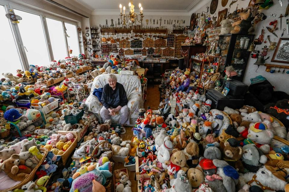 Catherine Bloemen has been collecting Kinder Surprise toys and teddy bears since the age of 21. (Yves Herman / Reuters)
