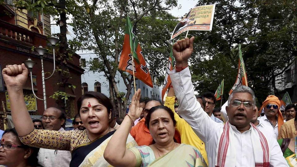 BJP leaders holding a protest demonstration  against the West Bengal government over the Narada scam in Kolkata on Wednesday.