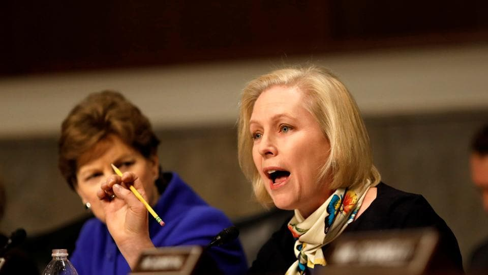 Senator Kristen Gillibrand asks a question during a Senate Armed Services Committee hearing on the 'Marines United' Facebook page on Capitol Hill in Washington, DC.