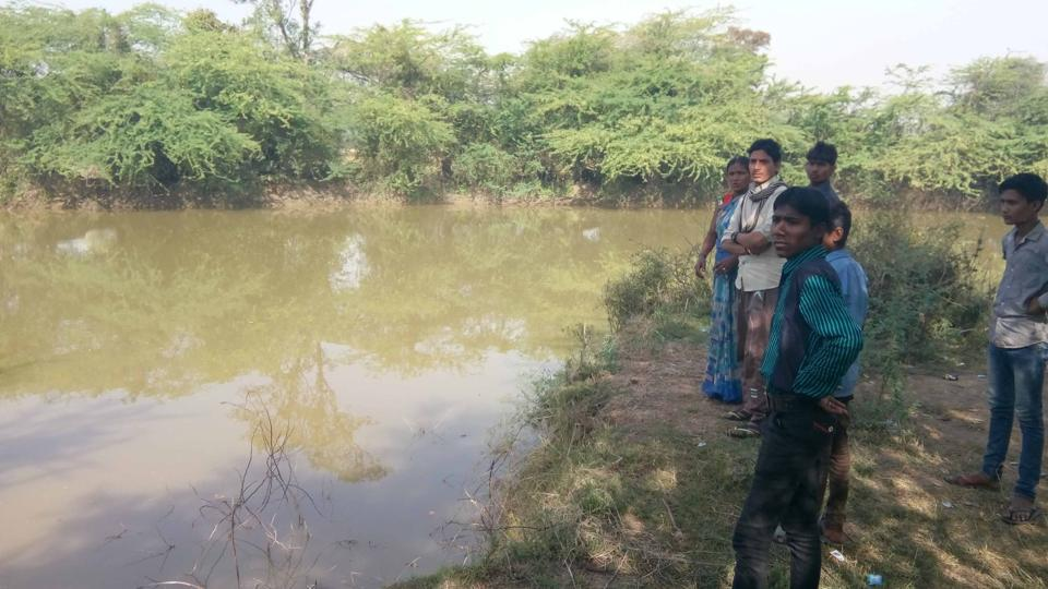 The pond in which two girls drowned on Tuesday during a police raid in Bharatpur.