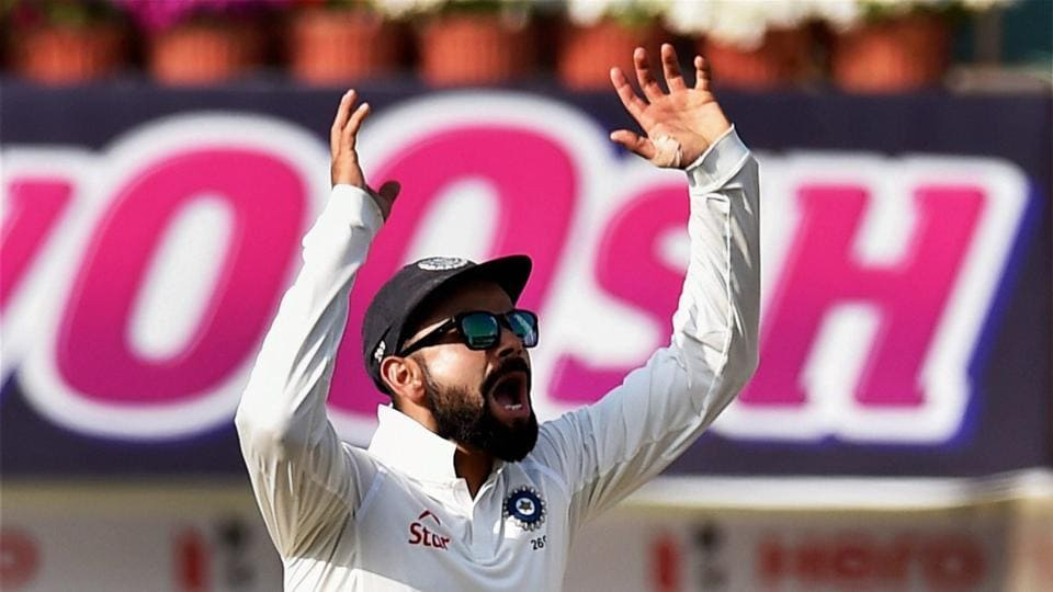 Virat Kohli reacts after the dismissal of Australian batsman Glenn Masxwell during 5th day of 3rd Test Match between India and Australia in Ranchi.