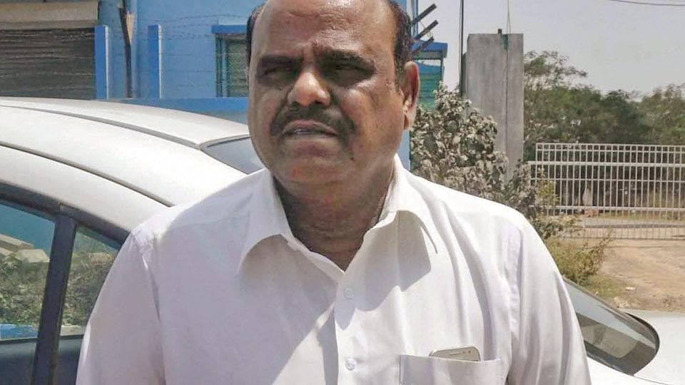 Justice CS Karnan of Calcutta High Court at his residence in New Town near Kolkata.