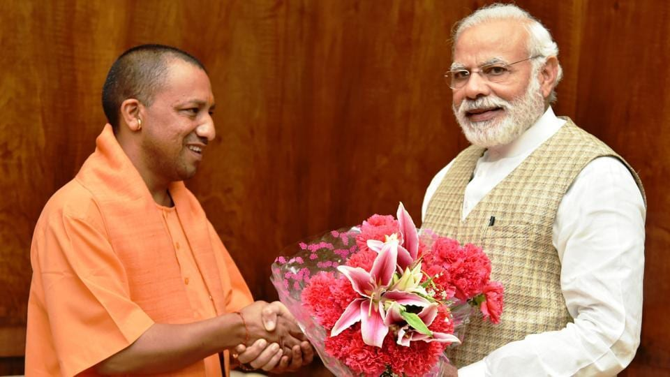 Uttar Pradesh chief minister Yogi Adityanath with Prime Minister Narendra Modi in New Delhi on Tuesday.