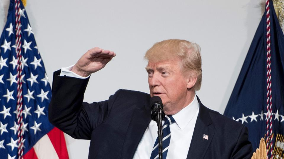 US President Donald Trump addresses the annual National Republican Congressional Committee dinner in Washington, DC on Tuesday.